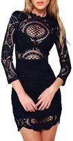 Azbro Women's Chic Lace-Paneled Hollow Out Body-con Dress