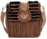 Fendi Two-Tone Suede/Fur Fringe Shoulder Bag