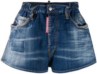 DSQUARED2 Paper Bag Waist Denim Shorts