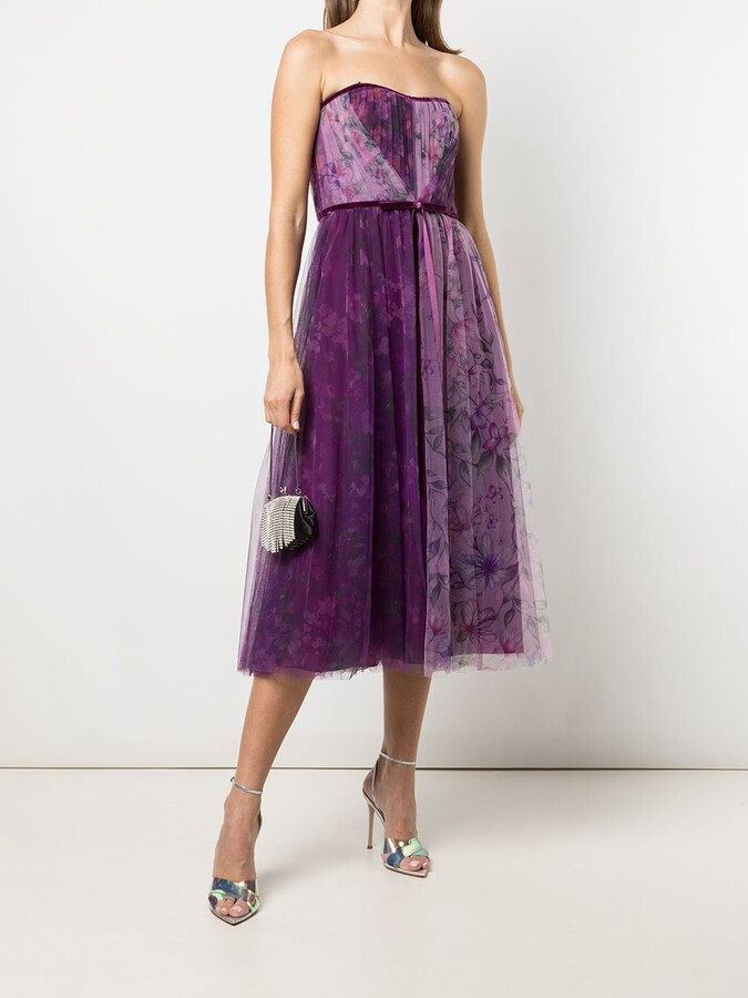 Marchesa Notte Floral Print Tulle Dress