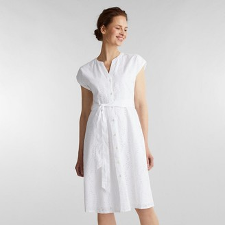Esprit Cotton Shirt Dress in Broderie Anglaise with Short Sleeves