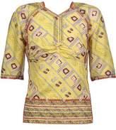 Isabel Marant Tamara Open-Back Embroidered Printed Silk-Satin Top