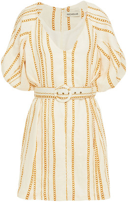Nicholas Shaanti Belted Printed Linen Mini Dress