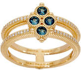 Judith Ripka 14K Gold London Blue Topaz &Diamond Ring