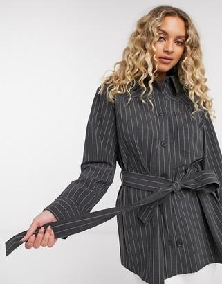 Weekday Beatrix belted pinstripe blazer in dark grey