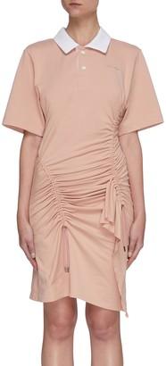 Koché Polo neck slant ruched mini dress
