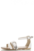 Quiz White PU Multi Strap Buckle Sandals