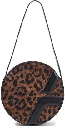 MANU Atelier Lou Leather-trimmed Leopard-print Calf Hair Shoulder Bag