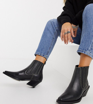 ASRA Exclusive Malia clean western boots in black leather