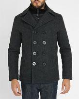 Schott NYC Charcoal Removable Liner Wool Pea Coat