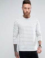Farah Long Sleeve Top With Breton Stripe In Slim Fit Ecru