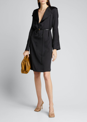 Bottega Veneta Fluid Satin Long-Sleeve Tunic/Dress