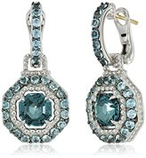 "Judith Ripka Casablanca"" Octagon Color Pave Drop On Center and Swiss Blue Topaz Pave Drop Earrings"