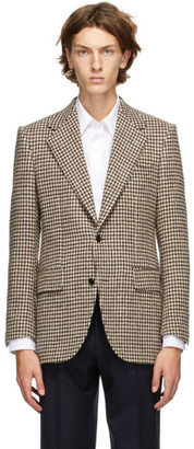 Husbands Off-White and Brown Houndstooth Straight Blazer