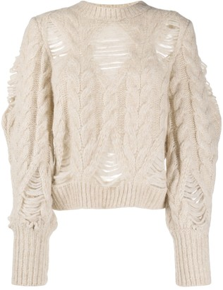 Stella McCartney Distressed-Effect Cable-Knit Jumper