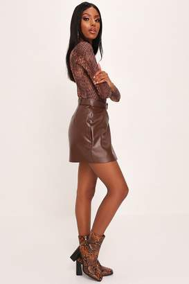 I SAW IT FIRST Chocolate Faux Leather Belted Assymetric Mini Skirt