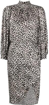 Alice + Olivia Leopard-Print Draped-Sleeve Midi Dress