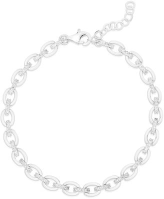 Sphera Milano 14K White Gold Plated Sterling Silver Pave CZ Link Bracelet