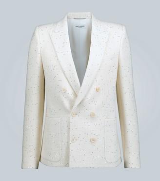Saint Laurent Double-breasted sequin tweed blazer