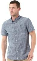Timberland Mens Taunton River Indigo Pattern Short Sleeve Shirt Indigo Floral Dot Print