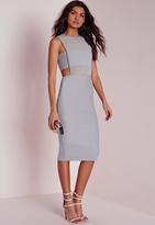 Missguided Crepe Sleeveless Cut Out Midi Dress Grey