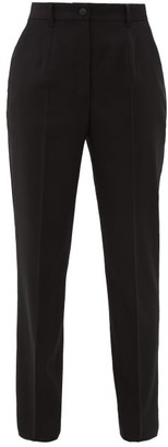 Dolce & Gabbana High-rise Wool-blend Twill Tapered Trousers - Black