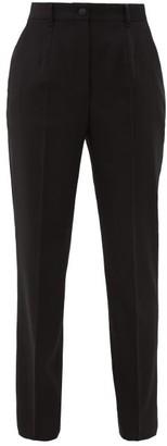 Dolce & Gabbana High-rise Wool-blend Twill Tapered Trousers - Womens - Black