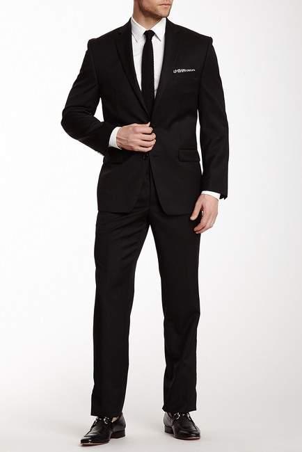 Calvin Klein Black Solid Two Button Notch Lapel Wool Suit