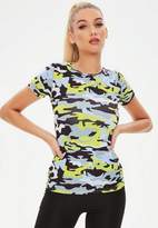Missguided Green Performance Camo T-Shirt