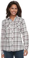 Croft & Barrow Women's Flannel Plaid Button-Down Shirt