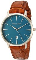 Vince Camuto Men's VC/1073SBRG The Associate Date Function Dial Tan Croco-Grain Leather Strap Watch