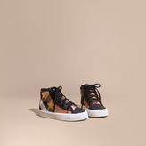 Burberry House Check and Star Print High-top Trainers