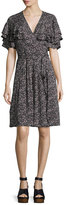 Rebecca Taylor Sweet Briar Short-Sleeve Mini Dress, Black Pattern