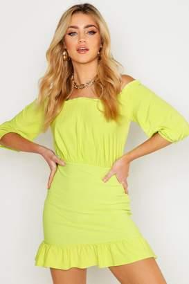 boohoo Off Shoulder 3/4 Sleeve Shirred Bodycon Mini Dress
