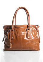 Tod's Tods Cognac Brown Patent leather Silver Tone Double Handle Tote Handbag