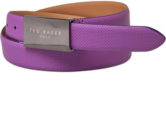 Ted Baker Mens Delsol Perforated Leather Golf Belt Purple