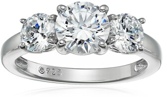 Amazon Collection Platinum-Plated Sterling Silver Swarovski Zirconia 2 cttw Round 3 Stone Ring Size 7