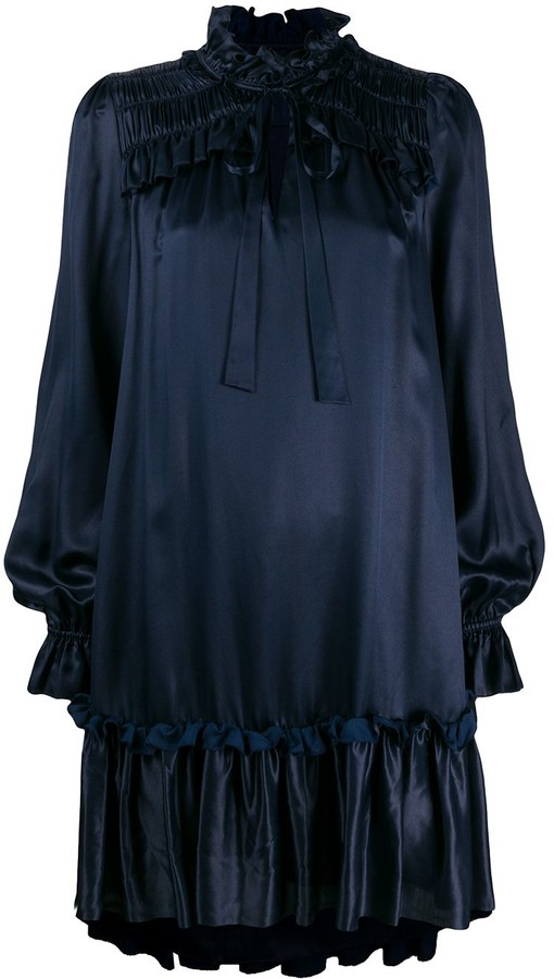 Temperley London Ruffle-Trimmed Satin Dress