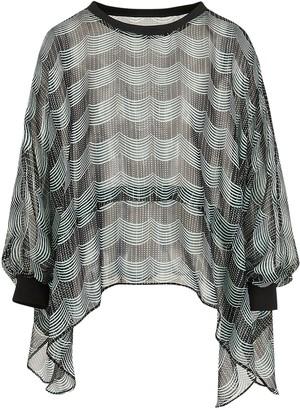 Giorgio Armani Printed Silk Lame Wide Poncho Shirt