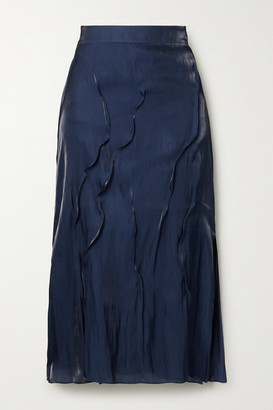 Kenzo Crinkled-satin Midi Skirt - Midnight blue