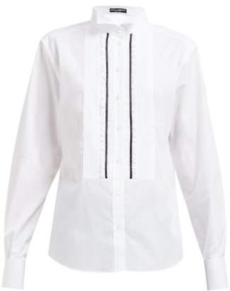 Dolce & Gabbana Wing Collar Ruffled Cotton Blend Shirt - Womens - White