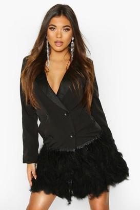 boohoo Feather Detail Blazer Dress