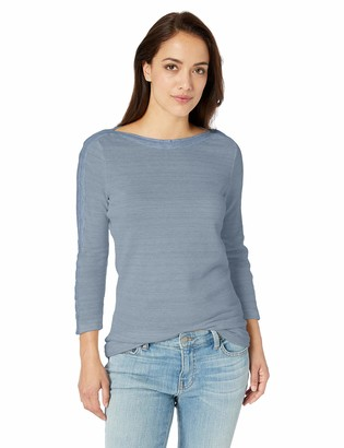 Chaps Women's Solid 3/4 Sleeve Waffle Knit Boatneck Top