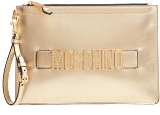 Moschino Embellished Logo Clutch