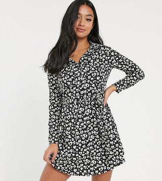 Brave Soul Petite alenia shirt dress in animal print