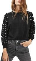 Topshop Women's Grommet Stud Sleeve Sweater