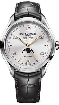 Baume & Mercier Women's Clifton Moonphase Stainless Steel & Alligator Strap Watch