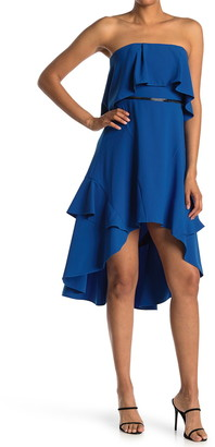 Halston Strapless Flounce Dress