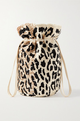 Ganni Mini Beaded Satin Bucket Bag - Leopard print