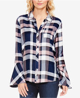Vince Camuto TWO By Plaid Bell-Sleeve Shirt